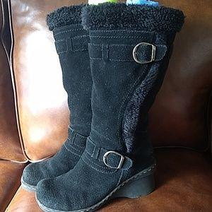 BareTraps Black Suede Fur Lined Wedge Boots